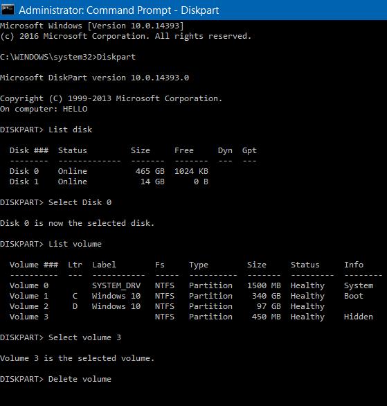 如何在Windows 10中删除450 MB的恢复分区